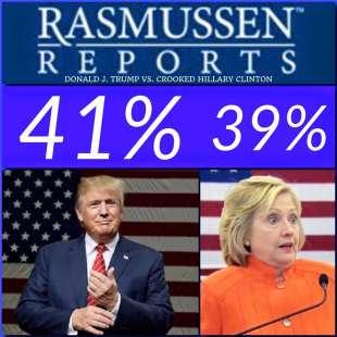 trump clinton i sondaggi rasmussen sulla pagina fb di donald