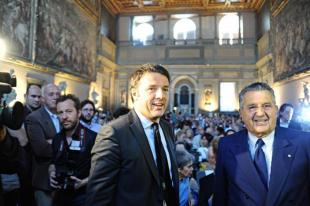 MATTEO RENZI E CARLO DE BENEDETTI A LA REPUBBLICA DELLE IDEE A firenze