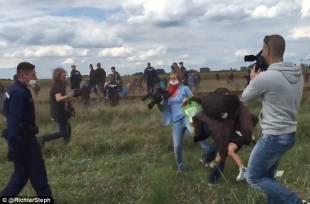 petra laszlo sgambetta i migranti in fuga da polizia ungherese