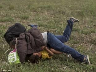 rifugiato e figlio a terra dopo lo sgambetto di petra laszlo