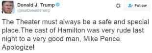 contestazione mike pence del cast di hamilton