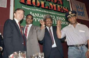 donald trump, larry holms, don king and mike tyson