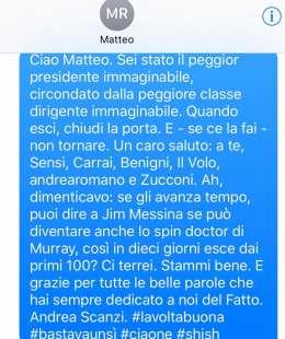 Sms di Andrea Scanzi a Matteo Renzi