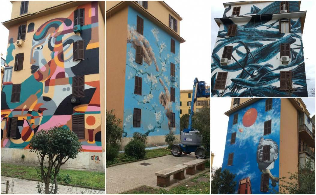 Metti a roma venti artisti che hanno dipinto murales sulle for Case che hanno ascensori