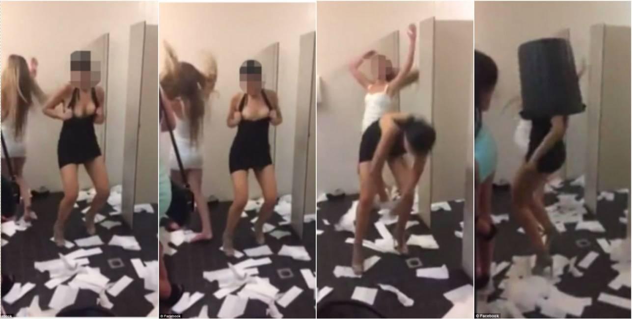 video virale di un gruppo di ragazze che distrugge un bagno pubblico ...